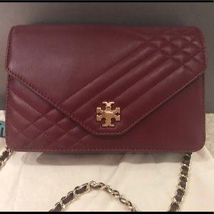 Tory Burch burgundy Mercer crossbody bag